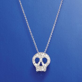 """.70 ct. t.w. CZ Skull Necklace in Sterling Silver. 18"""", , default"""