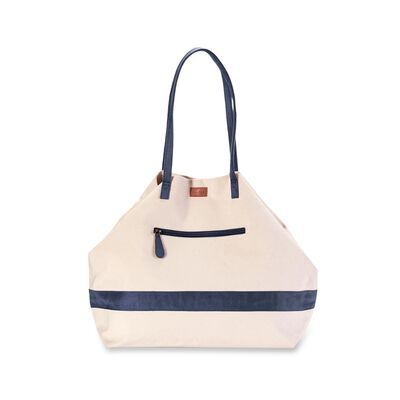 Navy Faux Suede and Canvas Expandable Weekender Tote, , default