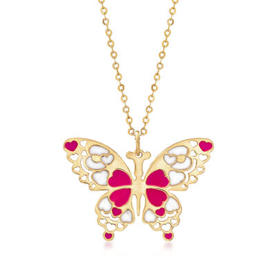 Italian Red and White Enamel Butterfly Pendant Necklace in 14kt Yellow Gold, , default