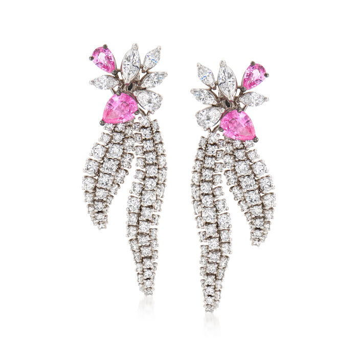 C. 1990 Vintage Stefan Hafner 6.70 ct. t.w. Diamond and 3.50 ct. t.w. Pink Sapphire Drop Earrings in 18kt White Gold