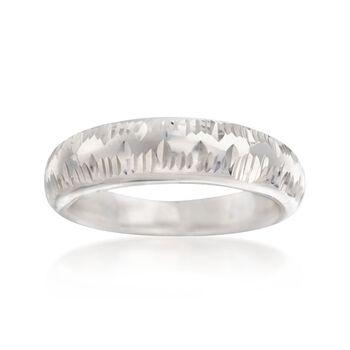 Italian Sterling Silver Diamond-Cut Ring, , default