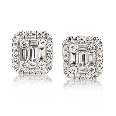 .54 ct. t.w. Baguette and Round Diamond Cluster Earrings in 18kt White Gold