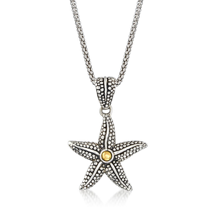 Sterling Silver Bali-Style Starfish Pendant Necklace with 14kt Yellow Gold