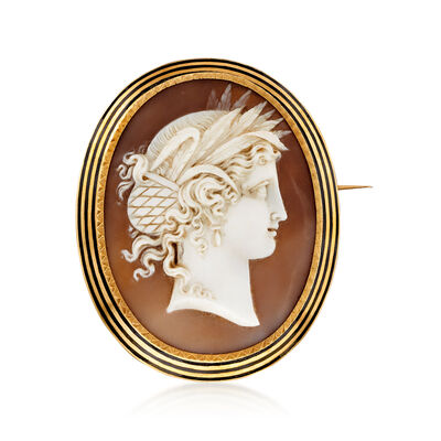 C. 1930 Vintage Pink Shell Cameo Pin in 14kt Yellow Gold