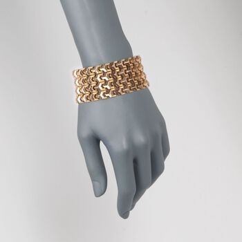 "C. 1950 Vintage 18kt Yellow Gold Wide Geometric Link Bracelet. 7.75"", , default"