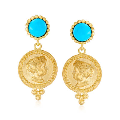 Italian Turquoise Victorian Replica Coin Drop Earrings in 18kt Gold Over Sterling