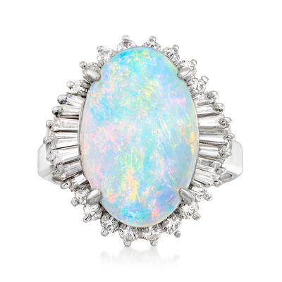 C. 2000 Vintage 17x11mm Opal and .96 ct. t.w. Diamond Ring in Platinum, , default
