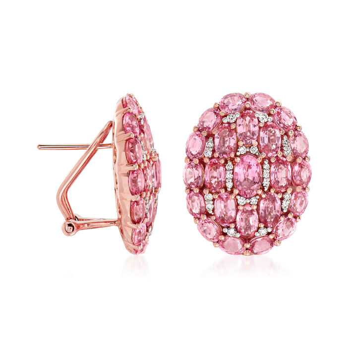12.50 ct. t.w. Pink Sapphire and .30 ct. t.w. Diamond Earrings in 18kt Rose Gold