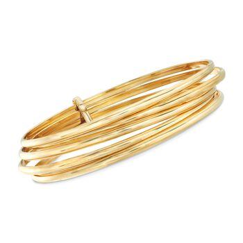 """Italian 18kt Gold Over Sterling Five-Row Bangle Bracelet. 8.5"""", , default"""