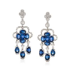 Gregg Ruth 3.00 ct. t.w. Sapphire and .70 ct. t.w. Diamond Chandelier Earrings in 18kt White Gold, , default