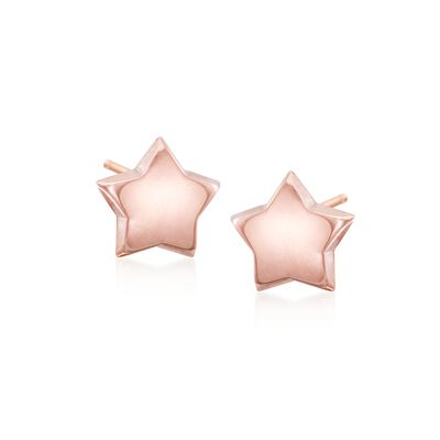 14kt Rose Gold Puffed Star Stud Earrings, , default