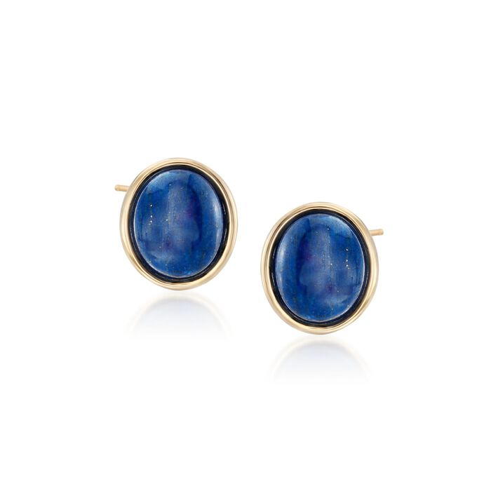 Oval Lapis Earrings in 14kt Yellow Gold
