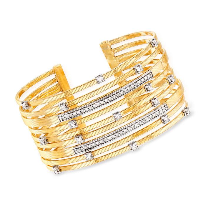 1.20 ct. t.w. Diamond Cuff Bracelet in 14kt Yellow Gold