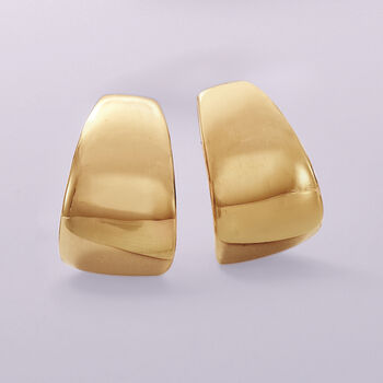 "Italian 14kt Yellow Gold Half-Hoop Earrings. 5/8"", , default"