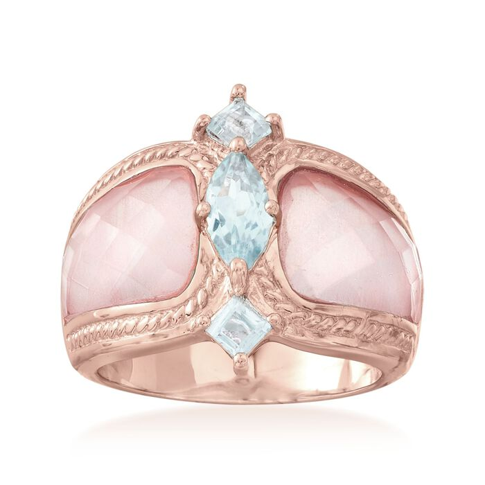 Rose Quartz and 1.10 ct. t.w. Blue Topaz Ring in 18kt Rose Gold Over Sterling