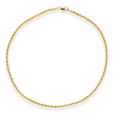 14kt Yellow Gold Rope Chain Anklet, , default