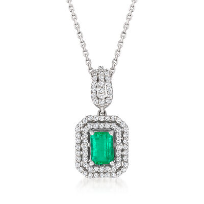 1.00 Carat Emerald and .38 ct. t.w. Diamond Pendant Necklace in 14kt White Gold
