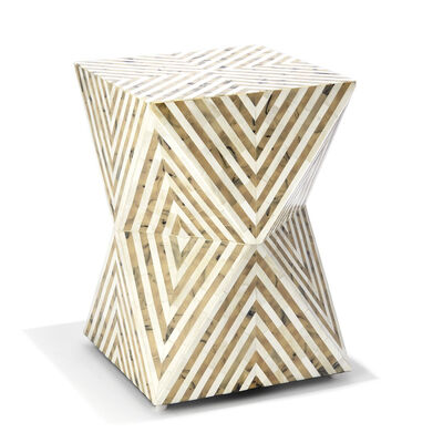 Taupe and White Mosaic Side Table, , default