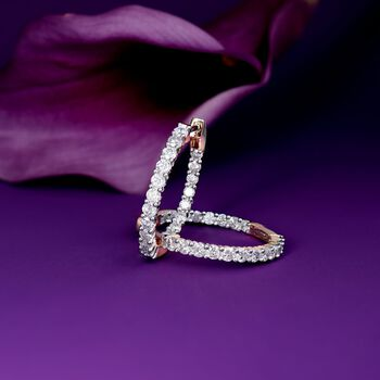 2.00 ct. t.w. Diamond Inside-Outside Hoop Earrings in 14kt Yellow Gold. 1""
