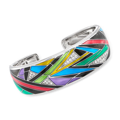 "Belle Etoile ""Chromatica"" Multicolored Enamel and .92 ct. t.w. CZ Cuff Bracelet in Sterling Silver"