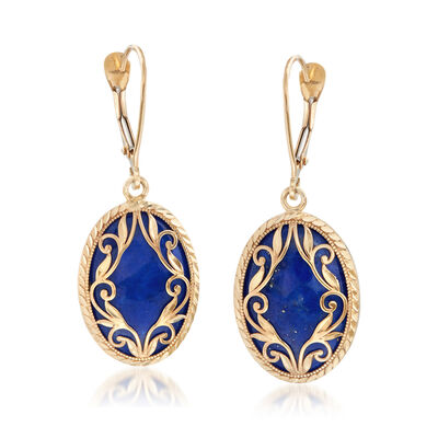 Lapis Scroll Earrings in 14kt Yellow Gold, , default