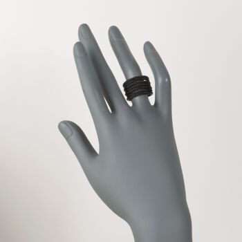 """ALOR """"Noir"""" Black Stainless Steel Multi-Cable Ring with 18kt Yellow Gold, , default"""