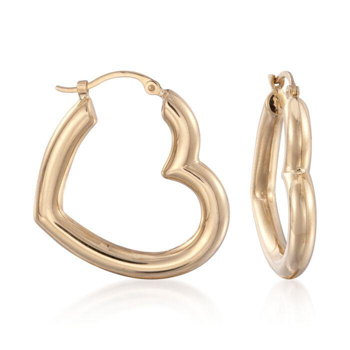 """14kt Yellow Gold Heart-Shaped Hoop Earrings. 1"""", , default"""
