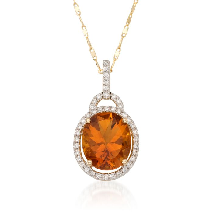 4.10 Carat Citrine Pendant Necklace with Diamonds in 14kt Yellow Gold