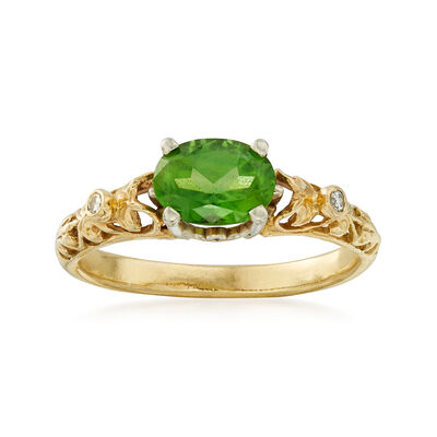 C. 1980 Vintage 1.20 Carat Tourmaline Ring with Diamond Accents in 14kt Yellow Gold, , default