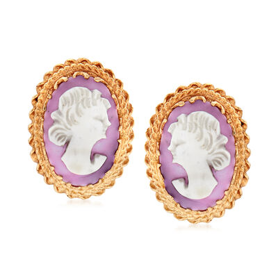 C. 1970 Vintage 12.5x8mm Pink Agate Cameo Clip-On Earrings in 14kt Yellow Gold, , default