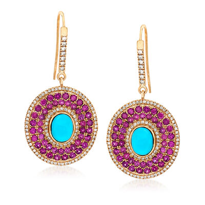 9x7mm Stabilized Turquoise, 5.30 ct. t.w. Rhodolite Garnet and 1.50 ct. t.w. White Zircon Drop Earrings in 14kt Yellow Gold, , default