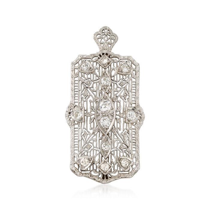 C. 1950 Vintage 1.00 ct. t.w. Diamond Filigree Pin Pendant in Platinum and 14kt White Gold