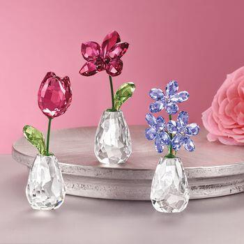 "Swarovski Crystal ""Flower Dreams"" Pink and Green Crystal Tulip Figurine , , default"