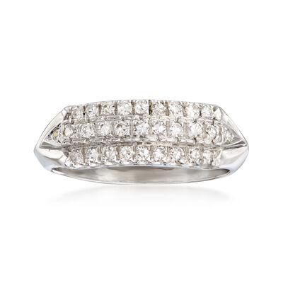 C. 1950 Vintage .50 ct. t.w. Diamond Three-Row Ring in Platinum, , default