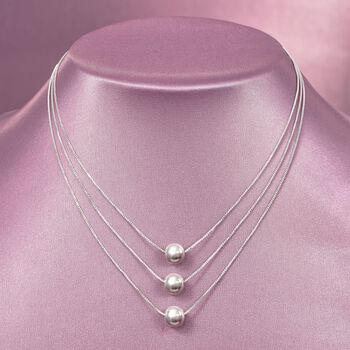 Sterling Silver Three-Strand Layered Bead Necklace. 18""