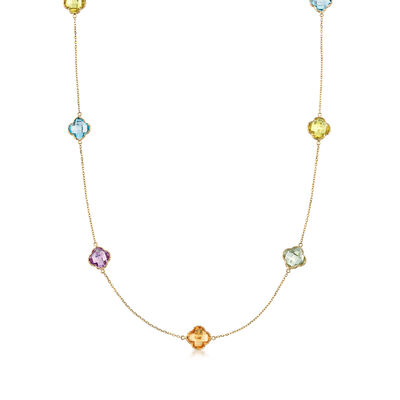 43.5 ct. t.w. Multi-Stone Clover-Shape Station Necklace in 14kt Yellow Gold, , default