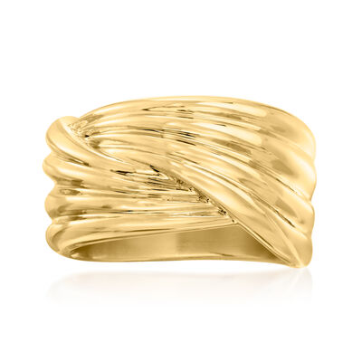 Italian Andiamo 14kt Yellow Gold Over Resin Crossover Ring