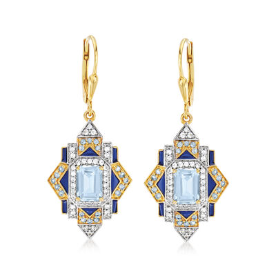3.30 ct. t.w. London Blue, Sky Blue and White Topaz Drop Earrings with Blue Enamel in 18kt Gold Over Sterling