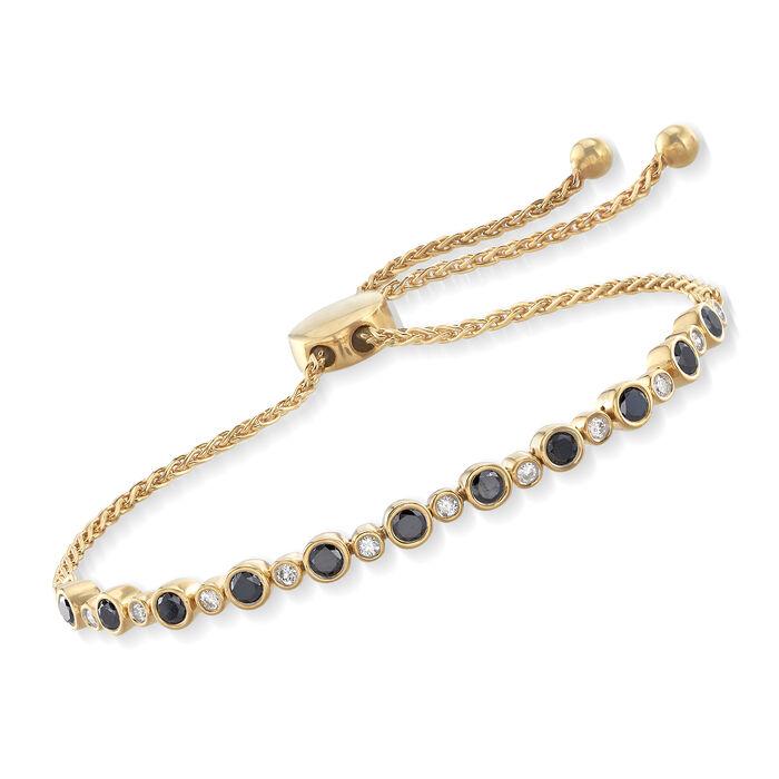 1.00 ct. t.w. Bezel-Set Black and White Diamond Bolo Bracelet in 18kt Yellow Gold Over Sterling , , default