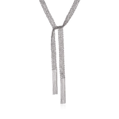 Italian Sterling Silver Mesh Tie Necklace, , default