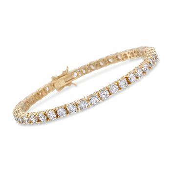 10.00 ct. t.w. CZ Tennis Bracelet in 14kt Gold Over Sterling, , default