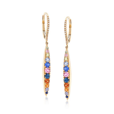 1.30 ct. t.w. Multicolored Sapphire Drop Earrings with Diamond Accents in 14kt Yellow Gold, , default