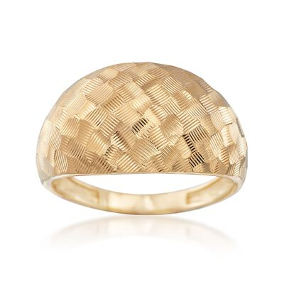 18kt Yellow Gold Diamond-Cut Basketweave Dome Ring, , default