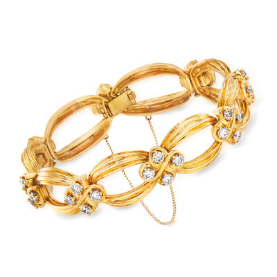 C. 1980 Vintage 4.50 ct. t.w. Diamond Link Bracelet in 18kt Yellow Gold, , default