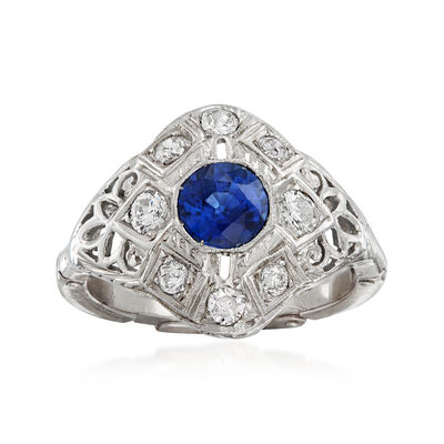 C. 1940 Vintage .65 Carat Sapphire and .40 ct. t.w. Diamond Ring in 14kt White Gold, , default