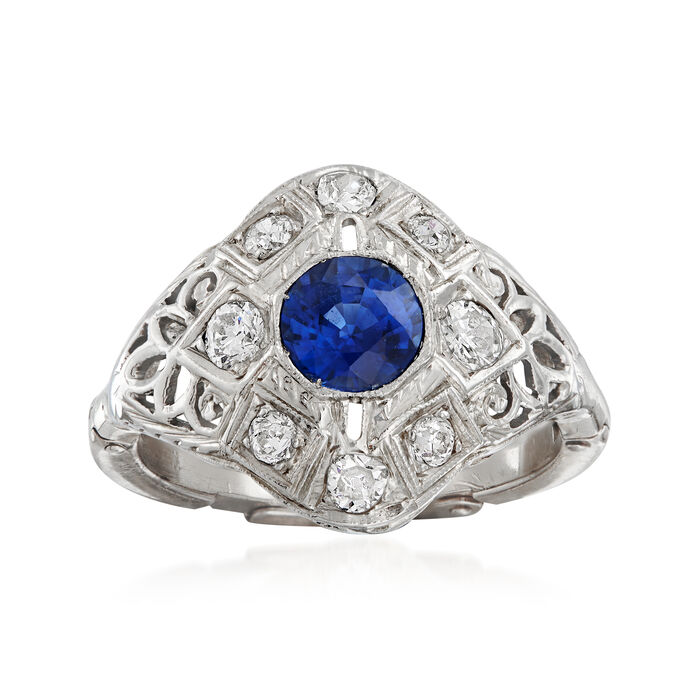 C. 1940 Vintage .65 Carat Sapphire and .40 ct. t.w. Diamond Ring in 14kt White Gold. Size 7, , default