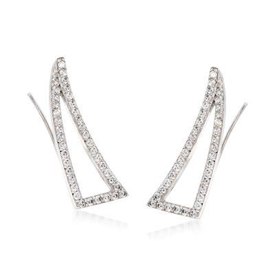 .70 ct. t.w. CZ Triangular Ear Crawlers in Sterling Silver, , default