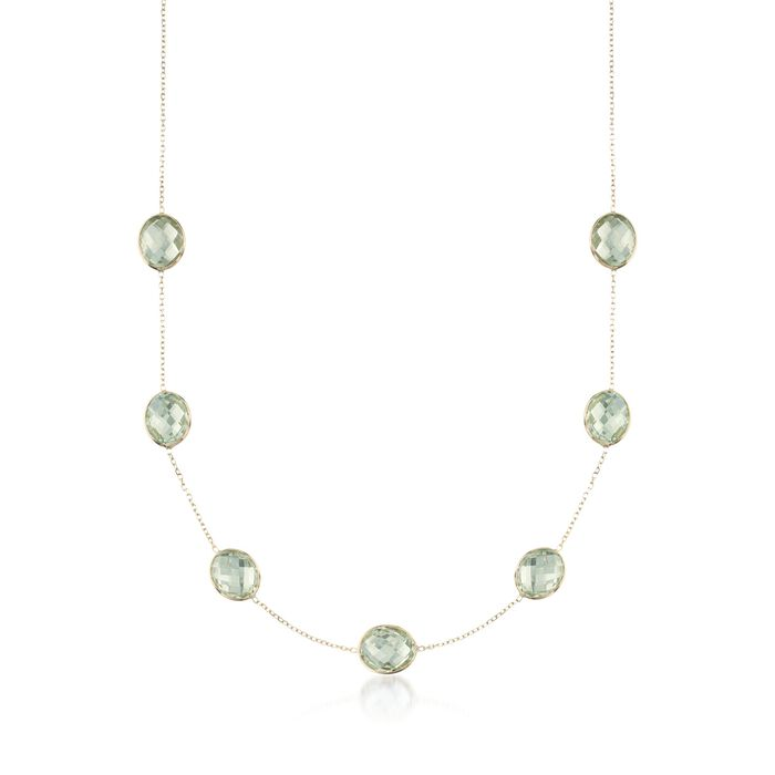 """28.00 ct. t.w. Green Prasiolite  Station Necklace in 14kt Yellow Gold. 18"""", , default"""