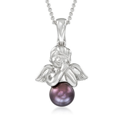 8-8.5mm Black Cultured Pearl Angel Pendant Necklace in Sterling Silver