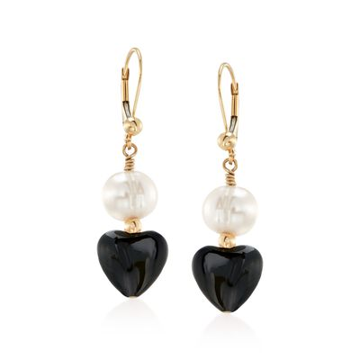8-9mm Cultured Pearl and Black Onyx Heart Bead Drop Earrings in 14kt Gold